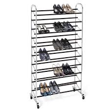 Home Basics 10 Tier Coated Non Woven Shoe Rack Chrome Metal 100Tier Rolling Shoe Rack Shoe rack Chrome and 12