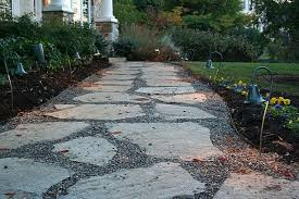 flagstone and crushed stone path