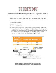 How To Install Running Lights Recon Led Daytime Running Lights Aka Drl User Manual 1 Page