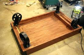 coffee table with caster wheel attaching the wheels diy full size