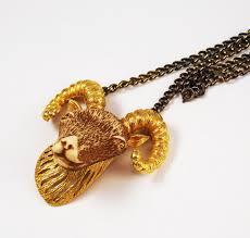 1970s Jewellery Designers Razza Zodiac Aries Ram Necklace Vintage Aries Zodiac