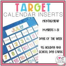 Pocket Chart Calendar Inserts Target Calendar Inserts