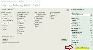 subway low carb menu calculator