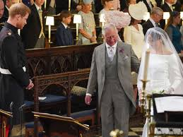 Image result for photo of prince charles walking meghan down the aisle