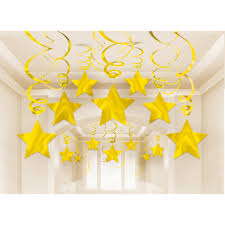 30 Swirl Decorations Shooting <b>Stars Gold Foil</b> 61 cm : Amscan Europe
