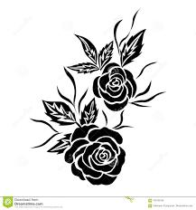 татуировка цветка розы черноты изолированный вектор иллюстрация