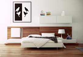 stylish bed set with narrow nightstand plus bird wall art and blonde wood floor in modern