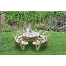 forest garden circular picnic table with seat backs