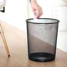 Trash Cans And Wastebaskets Best Office Wastebasket Metal Mesh Wastebasket Round Trash Can Recycling