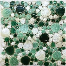 pebble tile mosaic porcelain pebble tile ppmt051 bathroom wall tiles white green porcelain kitchen tile