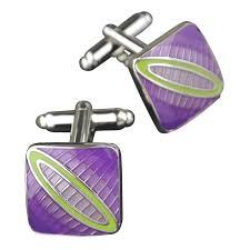 Colour Basis Purple And Green Enamel Cufflinks