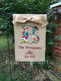personalized burlap garden flag monogram with by palmettostitchco 32 00