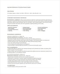 Maintenance Mechanic Resume Objective Building Maintenance Apartment