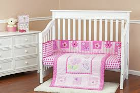 Butterfly and Flower 3 Piece Crib Bedding Set