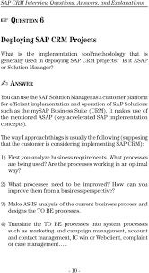 sap crm interview questions answers and explanations pdf it makes use of the mentioned asap key accelerated sap implementation concepts