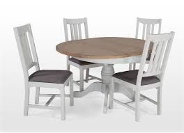 Round Country Kitchen Table White Oak Extendable Round Dining Table And Four Chairs Set Georgia