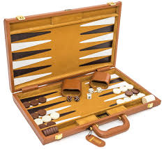 cambor 1425 viscount backgammon set genuine leather case w dice cups 18 x 12 folded
