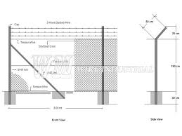 barbed wire fence drawing. Chain Link Fence Security Posts Ings Wm Wire Barbed Drawing