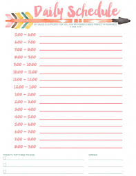 Free Printable Daily Schedule Template Daily Schedule Free Printable Planners Bullet Journals