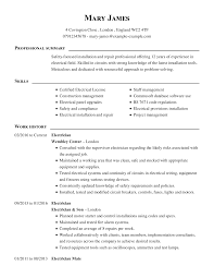 Sample Of Electrician Resumes Resume Work Experience Cv Templateee Download Word