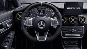The optional intelligent light system includes red accents on the headlamps. Mercedes Benz A Cla Gla Glb Amg Amg In Years