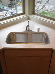 ... Cabinet Varnished Design For Kitchen Sinks, Rectangular Corner Kitchen  Undermount Sink With Chrome Faucet: lowes kitchen sink base ...