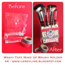 mason jar makeup brush holder. washi tape makeup brush holder mason jar