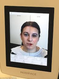 test drive the modiface mirror is built into an ipad and uses recognition technology
