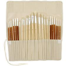24pc oil acrylic paint long handle artist paint brush set with free canvas roll up in art sets from office supplies on