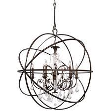 crystorama solaris 6 light crystal bronze sphere chandelier ii