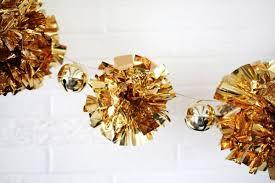 diy sparkling gold mylar pompom garland