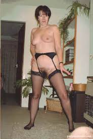 Mature naked with garter belts