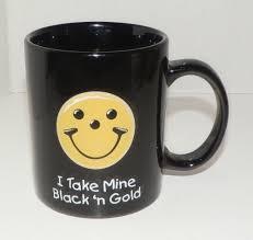 Smiley Face Coffee Mug Smiley Face I Take Mine Black N Gold Ceramic Mug Pittsburgh