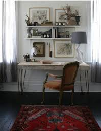 eclectic home office alison. Eclectic Home Office Design With A Gallery Wall Of Neutral Prints On Shelves Above The Desk Alison U