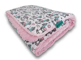 nursery bedding set rocking horses pink minky 01