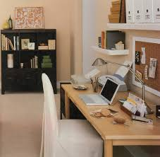 Office:Small Home Office Interior Design With Wooden Desk Decor Idea Modern Small  Space Home