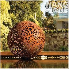 large corten steel garden metal ball