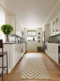 Rug Runners For Kitchen Long Kitchen Idea With Chevron Runner Rug And Vases And Wall Decor