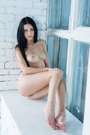 Raven Haired Shaved Cute Delicious Brunette Rafaella with Blue.