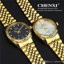 golden new clock gold fashion men watch full gold stainless steel best price luxury watch and drop shipping women s watch from onlinebuye