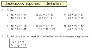 worksheet simultaneous equations elimination 1