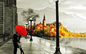 love, Autumn, Rain, Kiss, Lake, Wet ...