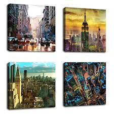 Paintings for office walls Computer Canvas Wall Art Modern Ny City Skyline Painting New York Skyscraper Abstract Painting Pictures Prints Street 4rexco Wall Art For Offices Amazoncom