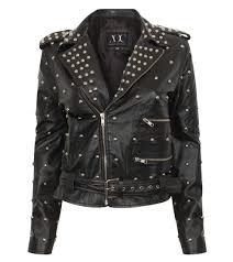 black leather jacekt with silvery studs