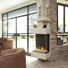 modern minimalist three sided gas fireplace mantel with transpa glass cover room divider diy 3