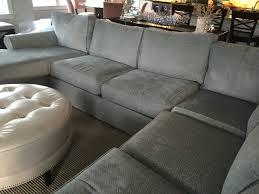 Furniture Grey Ethan Allen Sofas With Tufted Round Ottoman Coffee