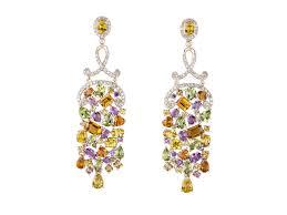 attractive multi colored chandelier earrings