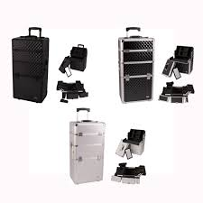 pro 2 in 1 aluminum makeup rolling train case cosmetic beauty organizer