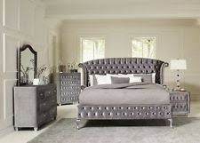 gray bedroom furniture. Contemporary Gray MAGICAL 4 PC GREY VELVET TUFTED KING PLATFORM BED BEDROOM FURNITURE SET Intended Gray Bedroom Furniture D