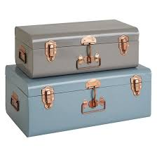 trunk set of 2 metal storage trunks